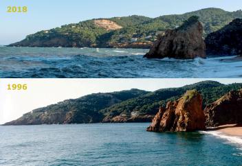 Comparativa 1996 versus 2018 de la Pedrera de s'Antiga, Sa Riera (Begur)